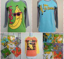 Grosir Kaos Raglan ABG Motif Banana Murah Bandung