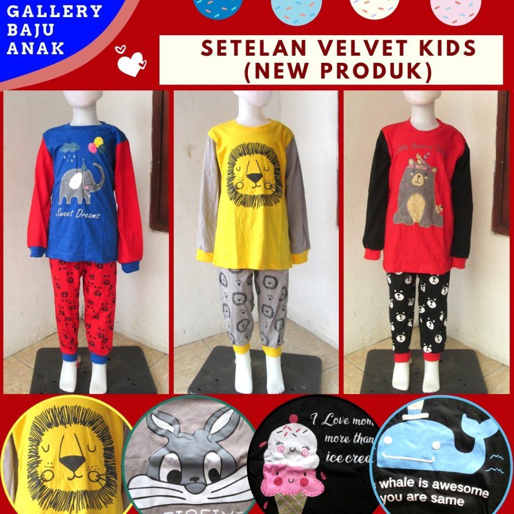 Pusat Grosir Cimahi Reseller Setelan Velvet Kids Karakter Murah di Cimahi HANYA 36RIBUAN