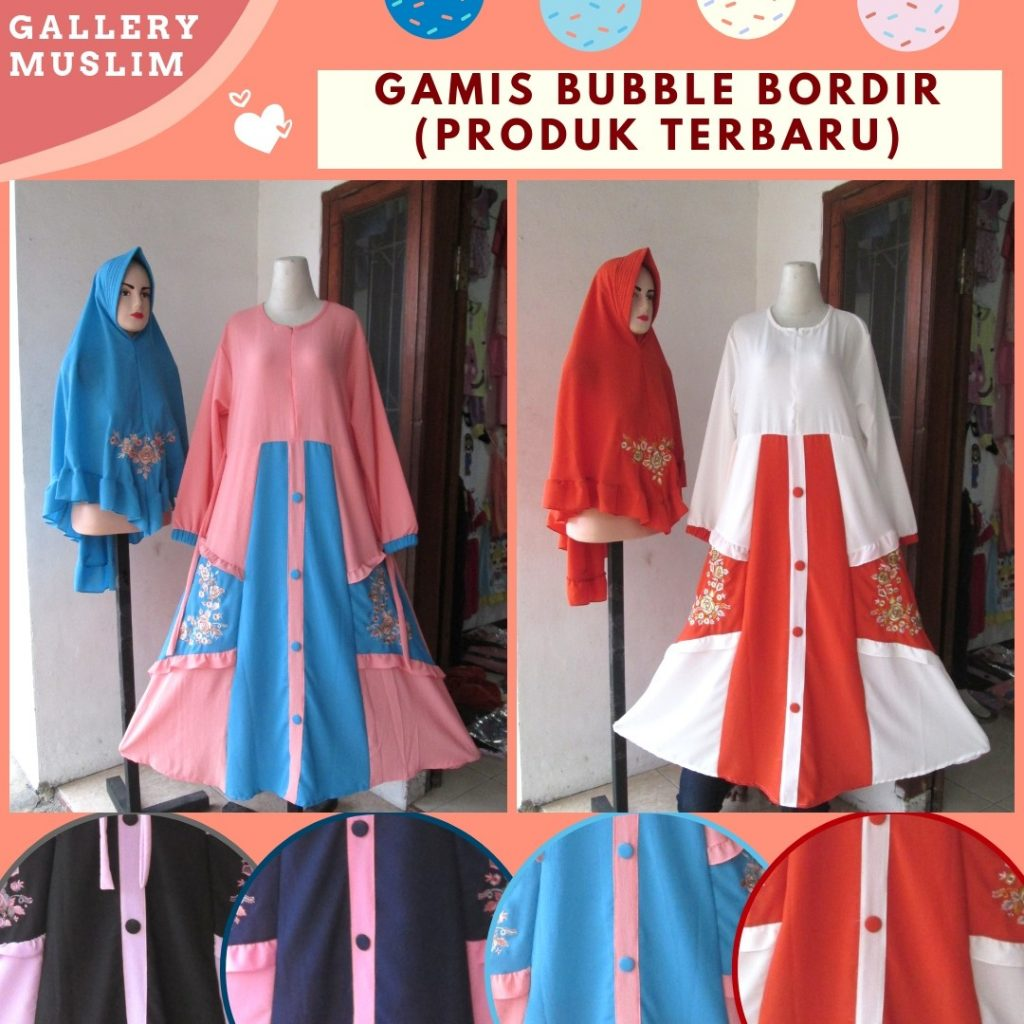 Pusat Grosir Cimahi Produsen Gamis Bubbler Bordir Wanita Dewasa Termurah di Bandung 120RIBUAN