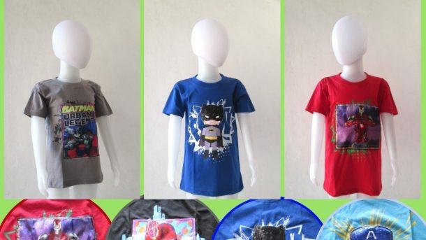 Pusat Grosir Cimahi Supplier Kaos LED Hero Anak Laki Laki Bisa Menyala Murah di Bandung hanya 29RIBUAN