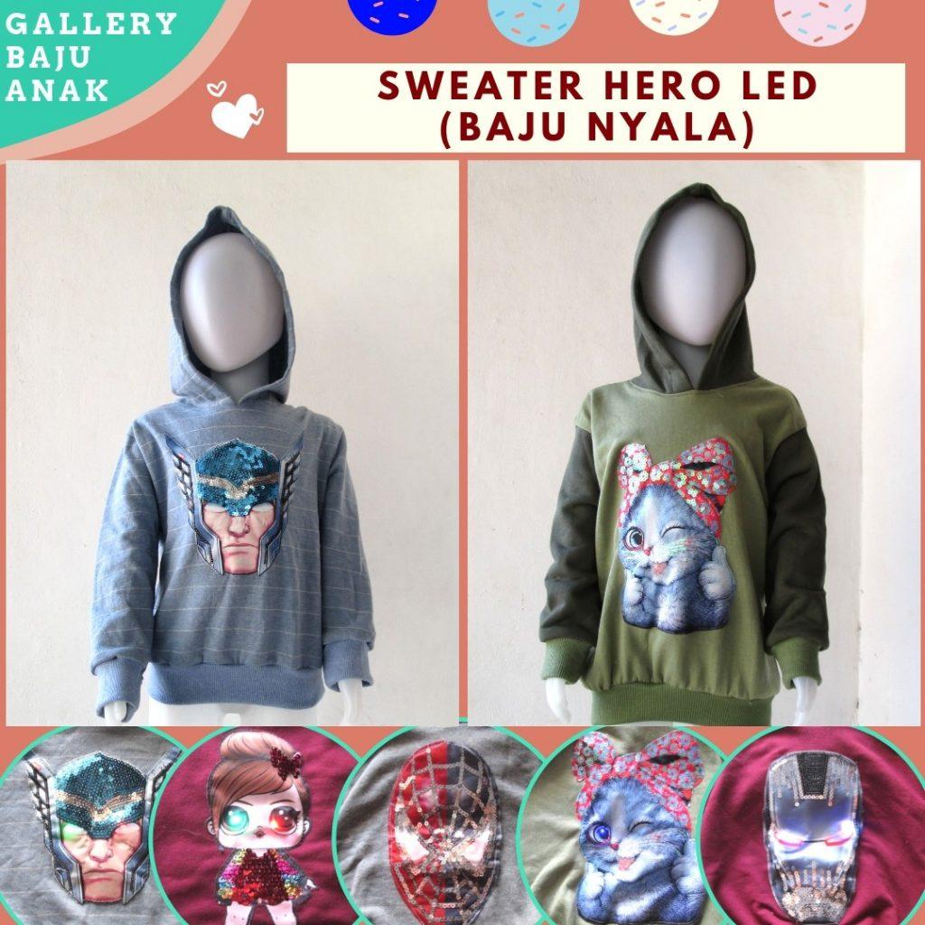 PUSAT GROSIR PAKAIAN MURAH CIMAHI BANDUNG Grosiran Sweater Hero LED Anak Karakter Bisa Menyala Murah di Cimahi 30RIBUAN