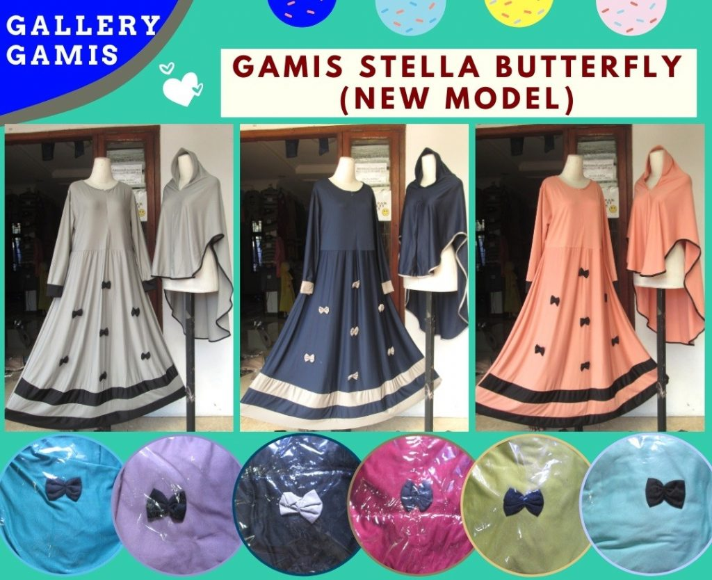 PUSAT GROSIR PAKAIAN MURAH CIMAHI BANDUNG Distributor Gamis Stella Butterfly Syar'i Terbaru Murah di Bandung 88RIBUAN