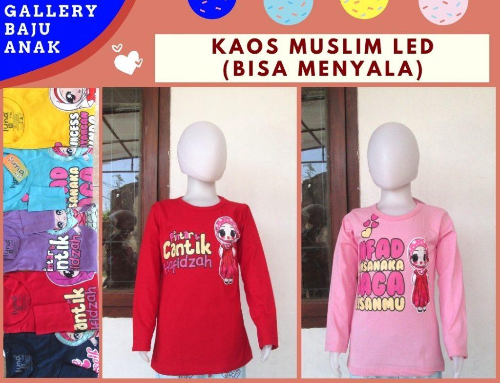 Pusat Grosir Cimahi Reseller Kaos Muslim LED Anak Perempuan Karakter Bisa Menyala Murah Hanya 30RIBUAN