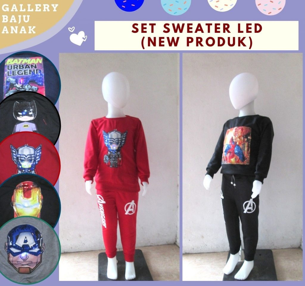 Pusat Grosir Cimahi Konveksi Setelan Sweater LED Anak Karakter Bisa Menyala TERMURAH Hanya 39RIBUAN